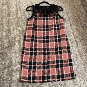 Vince Camuto feather collar plaid dress